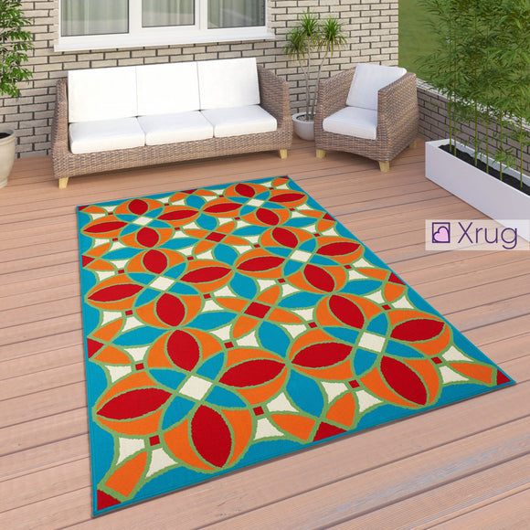 Outdoor Rug Moroccan Trellis Orange Blue Red Mat Large Small XL for Decking Patio Garden Multi Colour Flatweave Carpet