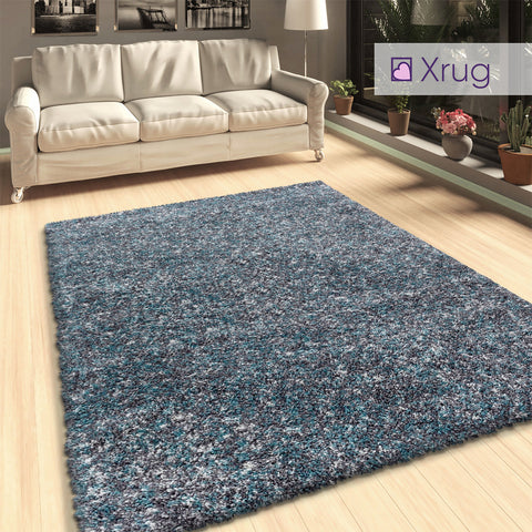 Grey Blue Shaggy Rugs Mottled Fluffy Carpet Extra Large Small Living Room Bedroom Rug Area Mat Runner New