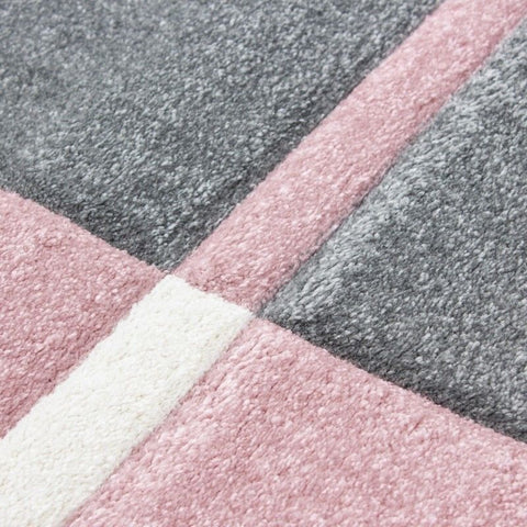 Check Rug Modern Pink and Grey White Geometric Contour Cut Mat Room Floor Carpet