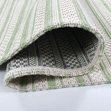 Cotton Rug Green Cream Striped Washable Rugs Flat Weave Carpet Woven Mat Runner Small Large
