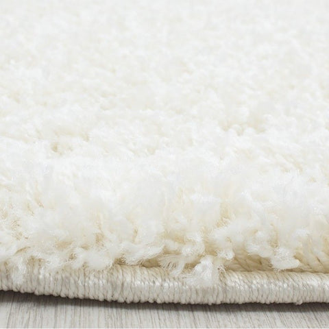 Cream Shaggy Rug Modern Deep Pile Plain Mat Small X Large Bedroom Fluffy Carpets