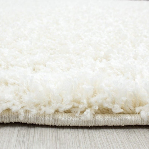 Cream Fluffy Rug Deep Pile Shaggy Mat Small Extra Large Room Round Floor Carpets