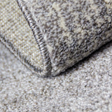 Grey Cream Rug Geometric Pattern Woven Low Pile Carpet Mat for Living Room or Bedroom