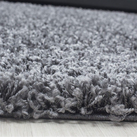 Grey Shaggy Rug Fluffy Deep Pile Woven Mat Extra Large Small Circle Round Runner Rug for Living Room or Bedroom