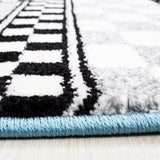 Boys Car Rug Blue Grey White Kids Bedroom Carpet Small Large Childrens Car Mats
