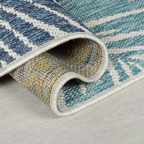 White Yellow Ochre Blue Navy Blue Grey Cream Rug Jute Look Flat Weave Hard Wearing Woven Outdoor Indoor Plastic Carpet Modern Tropic Floral Palm Pattern Small Large Hall Runner Mat 66x230 120x170 160x230
