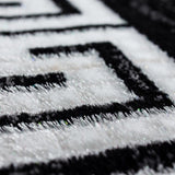 Black and White Rug Modern Greek Style Border Mats Small Large Room Floor Hall Carpet