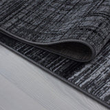 Black and Grey Rug Modern Geometric Pattern Carpet Small X Large Room Runner Mat