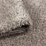 Shaggy Rug New Modern Plain Beige Carpets Long Pile Living Room Round Fluffy Mat