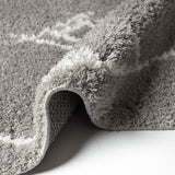 Grey Shaggy Rugs Very Soft Machine Washable Aztec Patterned Long Pile Carpet Mat