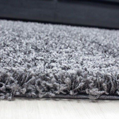 Grey Rug Fluffy Bedroom Floor Plain Mat New Modern High Pile Round Room Carpets