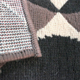 Geometric Rug Chocolate Brown Black Checkered Mat Small Large Room Floor Carpets
