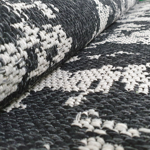 Grey Black Rug Modern Abstract 100% Cotton Washable Large Small Living Room Carpet Flat Woven Mat Living Room Rugs