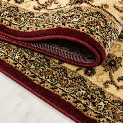 Traditional Rug Red and Beige Oriental Pattern New Mat Border Design Room Carpet
