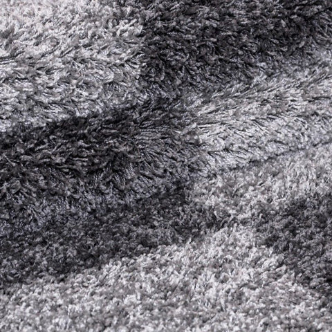 Shaggy Rugs Grey Geometric Pattern Mat High Pile Fluffy Bedroom Hallway Carpets