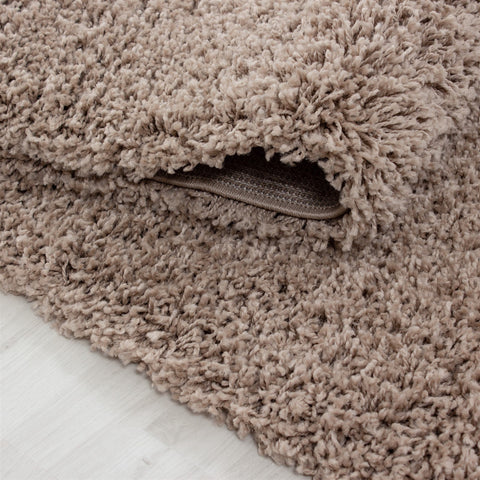 Beige Fluffy Rug for Living Room Bedroom Deep Pile Carpet Rug Beige Shaggy 50mm Extra Large Small Circle Round UK