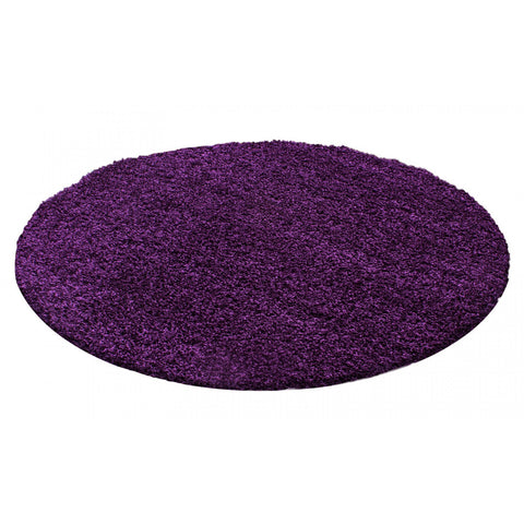 Purple Shaggy Rug 50mm long Pile Extra Large Small Deep Pile Rugs for Living Room Bedroom Circle Round
