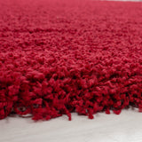 Red Fluffy Rug 50mm long pile Fluffy Carpet Extra Large Small Living Room Bedroom Mat Circle Round Modern Woven Mat