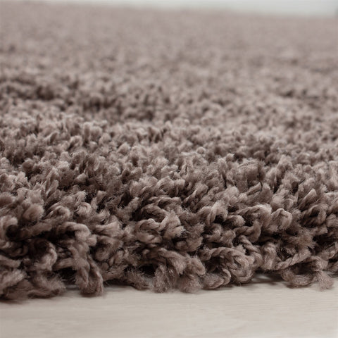 Taupe Brown Shaggy Rug 50mm long Pile Carpet Woven Deep Pile Living Room Bedroom Rugs Circle Round