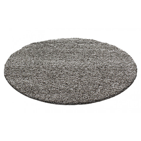Circle Shaggy Rug Taupe Brown Round Fluffy Rug Carpet Living Room Bedroom Carpet Mat