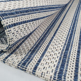 Cream Blue Rug 100% Cotton Rugs Navy Striped Pattern Flat Weave Washable Carpet Mat Small Extra Large Runner