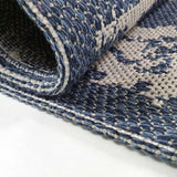 Washable Rug Runner Navy Blue Diamond Patterned Carpet Large Small Mat