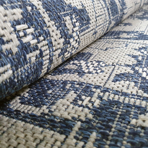 Flat Weave Rug Blue Grey Natural Cotton Runner Rug Large Small Living Room Bedroom Mat
