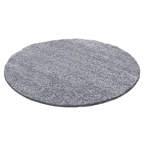 Shaggy Rug Light Grey Modern Deep Pile Carpets Small Large Round Fluffy Area Mat