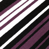 Modern Rug Purple Black Striped Pattern Mat Living Room Hall Carpet Small Large
