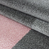 Modern Geometric Rug Pink and Grey Check Design Mat Extra Large Small Bedroom Living Room Carpet Mat
