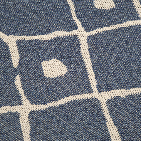 Cotton Rug Navy Blue Diamond Pattern Washable Flat Weave Mat Woven Carpet Small Extra Large