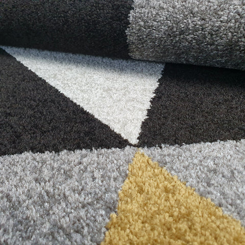 Modern Rugs Living Room Bedroom Carpet Yellow Grey Black Triangle Pattern Small Large Floor Mat Woven Soft Thick