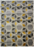 Grey Yellow Rug Geometric Ochre Mustard Modern Pattern Carpet Room Floor Mat New