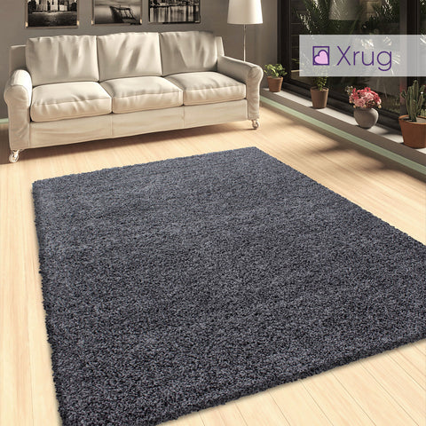Grey Shaggy Rug 50mm long Pile Soft for Living Room Bedroom Extra Large Small Runner