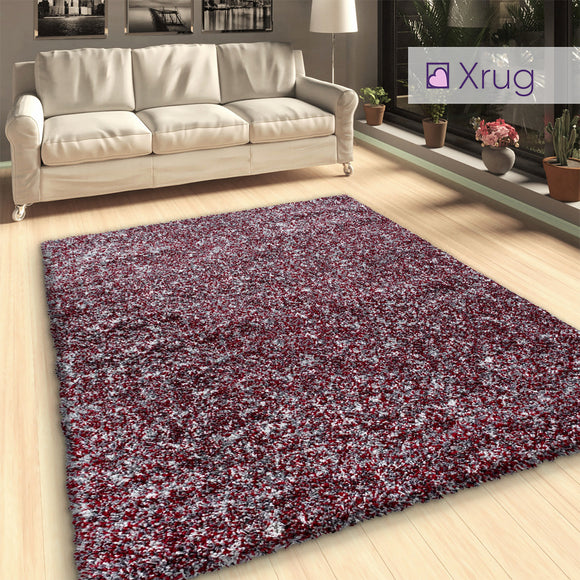 Red Grey Shaggy Rug Fluffy Thick Pile Long Pile Living Room Bedroom Carpet Rugs Area Mat Deep Pile Extra Large Small Runner New