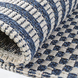 Cotton Rug Braided Navy Blue Grey Cream Striped Washable Flat Weave Mat Small Extra Large Long Runner