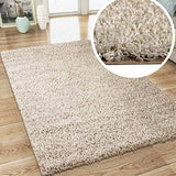 Modern Fluffy Rug Cream Shaggy Long Pile Woven Carpet Mat for Living Room or Bedroom