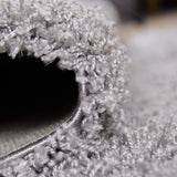 Modern Fluffy Rug Silver Grey Shaggy Long Pile Woven Carpet Mat for Living Room or Bedroom
