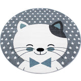 Kids Animal Rug Grey White Blue Cat Pattern Carpet Childrens Play Round Baby Mat