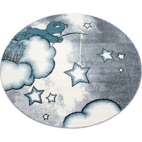 Kids Rug Grey Blue Bear Pattern Childrens Star Mat Round Nursery Playroom Carpet