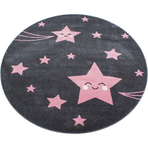 Kids Star Rug Pink and Grey Childrens Play Carpet Small Large Round Nursery Mats
