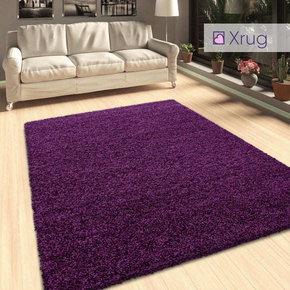 Purple Shaggy Rug 50mm long Pile Carpet Extra Large Small Living Room Bedroom Carpet Circle Round Mat