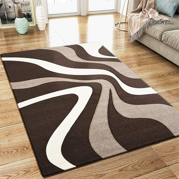 Abstract Rug Brown Beige White Wave Design Contour Cut Woven Low Pile Carpet Mat for Living Room & Bedroom