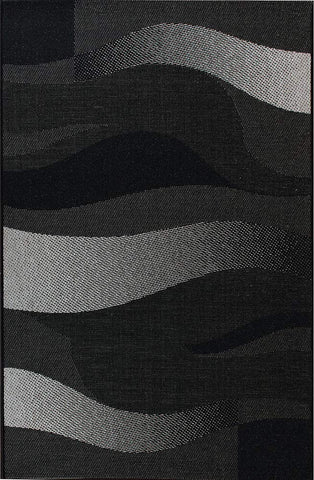 Kitchen Rug Black Grey Silver Wave Pattern Hard Wearing Flat Weave Carpet Floor Mat