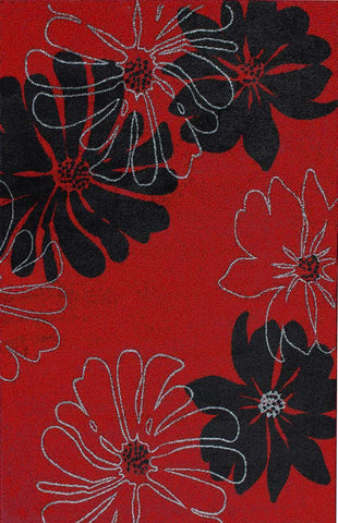 Modern Large Red Rug Black Floral Pattern Soft Woven Low Pile Floor Carpet Living Room or Bedroom