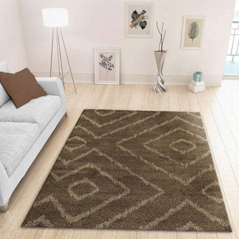 Modern Design Brown Rug Geometric Pattern Woven Low Pile Carpet Living room & Bedroom
