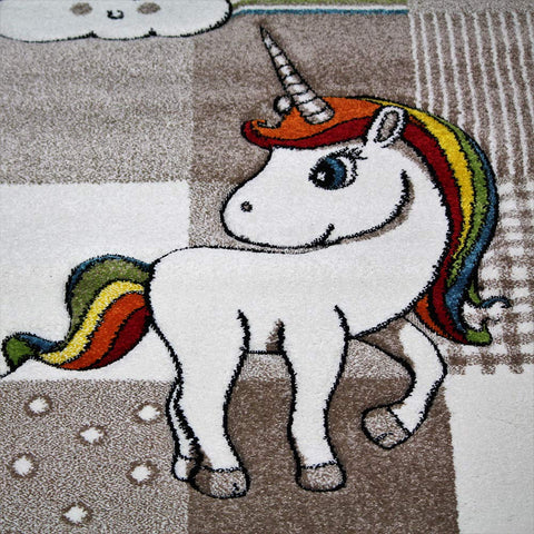 Unicorn Rug Kids Children Beige Nursery Carpet Woven Play Room Mat for Baby Girls Boys Bedroom