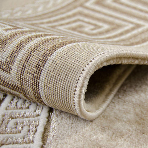 Modern Rug Beige Brown Border Pattern Oriental Woven Short Pile Carpet Mat for Living Room & Bedroom