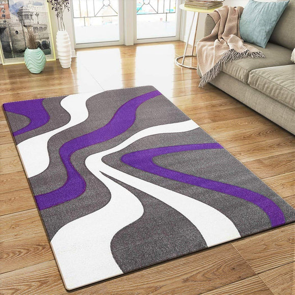 XRUG Modern Grey Purple White Rug Contour Cut Abstract Pattern Woven Low Pile Carpet Mat for Living Room & Bedroom