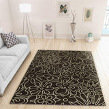 Modern Dark Brown and Grey Rug Floral Pattern Woven Short Pile Carpet Mat for Living Room or Bedroom